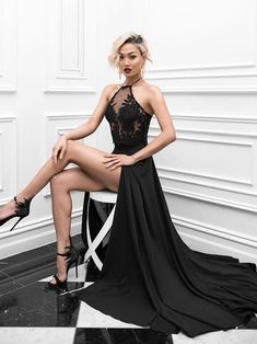 Two Piece Prom Dresses Halter A-line Sexy Prom Dress Black Evening Dress JKL471