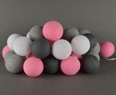 Cottonballslight Cottonballs lampen roze, wit, grijs, donkergrijs