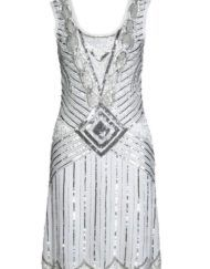 This gorgeous, glittering silver and white art deco flapper dress is a vintage inspired delight. Silver metallic art deco detail and designs