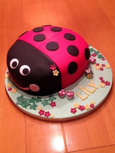 Ladybird cake covered in fondant / sugar paste. Decorated cake board.