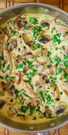 Chicken and Spinach in Creamy Mushroom Sauce - easy weeknight dinner recipe. #chickenthighs