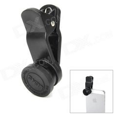 LieQi Universal Clip-On Wide Angle Fish Eye Lens + Macro Lens for iPhone / Cellphone + More - Black