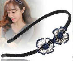 Stone Embellished Stranded Flowers Charm Metal Hairband