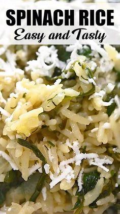 Plant Based Recipes, Vegetable Recipes, Vegetarian Recipes, Cooking Recipes, Healthy Rice Recipes, Cooked Spinach Recipes, Vegetarian Rice Dishes, Rice Side Dishes, Vegetable Side Dishes