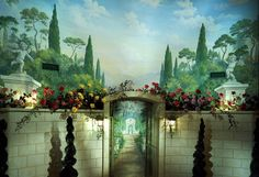 A Retrospective of Past Mural Projects An aviary custom ceiling. A custom ceiling of clouds at sunset, painted in Bermuda. Hand painted decorative panels in a club room. Custom mural in a Connecticut home.