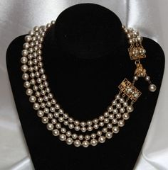 Haskell 4 Strand Pearl Necklace w/Dove Bird Clasp
