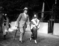 Celebrities and society leaders of both England and America were on hand Sept. 13 to see the American polo team defeat the British in the first of the series of International matches on Sept. 13, 1924. Pictured Mr. and Mrs. Anthony Biddle.