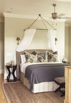Second Master Bedroom with Upholstered Headboards by Bernhardt & Jute Rug - March 2010