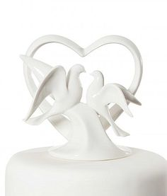 Heart with Doves Cake Topper Figurine