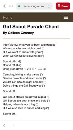 Girl scout chant/cheer Girl Scout Camp Songs, Girl Scout Leader, Girl Scout Troop, Girl Scout Crafts, Girl Scout Badges, Girl Scout Activities, Girl Scout Camping, Girl Scout Swap, Girl Scout Cookie Sales