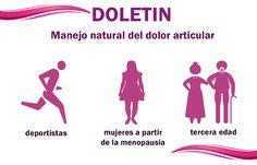 Doletin  -> Manejo natural del dolor articular  Complemento ideal para deportistas, mujeres a partir de la menopausia y tercera edad  Complemento alimenticio para promover el bienestar fisiologico del sistema óseo, las articulaciones y los músculos.   Contiene colágeno hidrolizado, garra del diablo, MSM, sulfato de glucosamina, sulfato de condroitina....