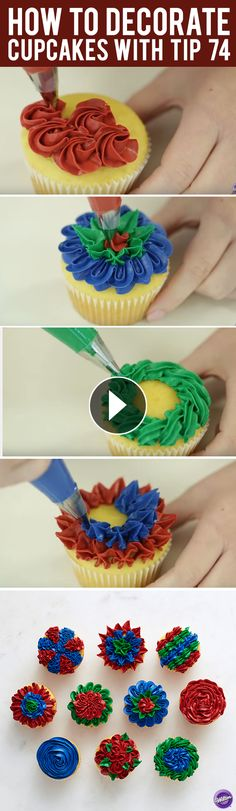 Learn 10 ways to decorate cupcakes with Wilton decorating tip number 74!