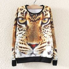 3D leopard sweatshirt cool animal pullover sweatshirt for women