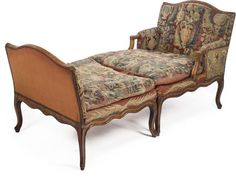 A Louis XV beechwood tapestry upholstered duchesse brisée mid-18th century