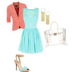 Aqua Dress + Coral Blazer + JustFab heels + JustFab Midtown handbag #styleitfab