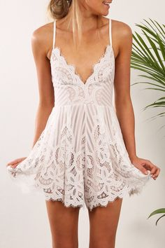 Heavenly Playsuit white lace romper