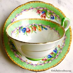 Aynsley Green Crocus Wreath Tea Cup and Saucer B3758