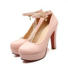 Ankle Strap Pink Platform Shoes Women Round Toe Thick High Heels Women Pumps Autumn/Spring Ladies Wedding Shoes(China (Mainland))