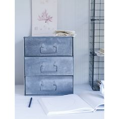 Three Drawer Zinc Filing Cabinet