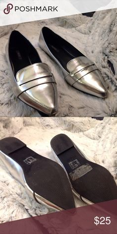 Silver loafers Bought off here size 8 closet too big had silver ones already Shoes Flats & Loafers