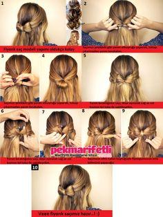 .. Resimli anlatımlı yarım fiyonk saç modeli yapımı ..