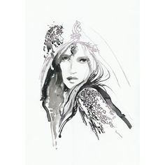 Print of Ink & Watercolor Fashion Illustration Sketch. A little Goth... ($150) ❤ liked on Polyvore