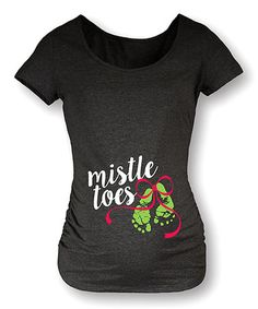 0f4e0743 Heather Charcoal 'Mistle Toes' Side-Ruched Maternity Tee. Maternity  ShirtsMaternity ...