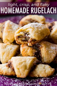How To Make Rugelach These Pastries Have A Buttery, Flaky Crust And Are Filled With Sweet Cinnamon Walnut Filling Recipe On Rugelach Cookie Recipe, Rugelach Cookies, Cookie Desserts, Cookie Recipes, Dessert Recipes, Candy Recipes, Homemade Croissants, Filling Recipe, Filled Cookies