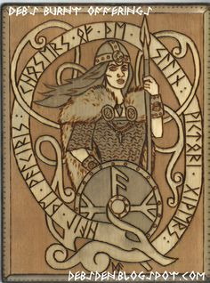 Valkyrie  Plaque Pyrography by debsburntofferings on Etsy, $30.00