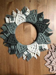 This item is unavailable Macrame Mirror, Macrame Wall Hanging Patterns, Macrame Art, Macrame Projects, Ombre Green, Crochet Home Decor, Thread Art, Weaving Art, Girls Mac
