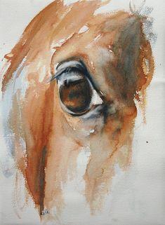 Horse Look 32 Original Watercolor Painting. €220.00, via Etsy.