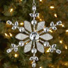 Beaded Snowflake Ornament - Silver & White