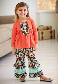 Gorgeous coral, aqua and brown Fall outfit by Peaches n Cream from their APRICOT TARTS collection! - Color Me Happy Boutique #Fall
