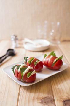 Mozzarella tomato basil in Hasselback style
