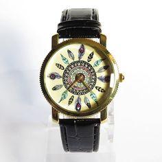 Dream Catcher Watch, Vintage Style Leather Watch, Women Watches, Fashion Watch, Boyfriend Watch, Croco Black, Tan, 35mm case