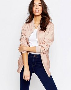 New Look Longline Sateen Bomber