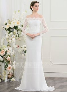 Sheath/Column Off-the-Shoulder Sweep Train Ruffle Beading Sequins Zipper Up Covered Button Sleeves Long Sleeves Beach General Plus No Spring Summer Fall Ivory Chiffon Height:5.7ft Bust:33in Waist:24in Hips:34in US 2 / UK 6 / EU 32 Wedding Dress