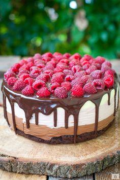 Chocolate cake z malinami Lemon Cheesecake Recipes, Chocolate Cheesecake Recipes, Chocolate Cake, No Cook Desserts, Dessert Recipes, Cool Birthday Cakes, Sweet Cakes, Homemade Cakes, No Bake Cake