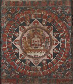 Chandra (Moon God) Mandala Tibetan: ཟླ་བ། Chinese: 月神 (item no. Origin Location: Nepal - Date Range: 1400 - 1499 - Lineages: Buddhist - Material: Ground Mineral Pigment on Cotton - Collection Private Gautama Buddha, Buddha Buddhism, Buddhist Art, Mandala Painting, Mandala Art, Tibetan Art, Tibetan Mandala, Southeast Asian Arts, Byzantine Icons