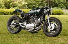 Green Elegant Stylish Yamaha Virago Cafe Racer Left Side View