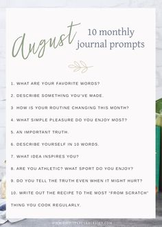 Journal Prompts August 2018 Edition August 2018 Journal Prompts by Eight Pepperberries. New Prompts Released Each Month!