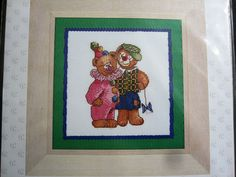 Thea Gouverneur Clown Bears Counted Cross Stitch Kit on Linen Holland New Counted Cross Stitch Kits, Cross Stitch Embroidery, New Crafts, Holland, Bears, Stamp, Painting, The Nederlands, Stamps