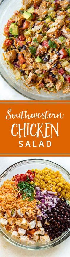 Southwestern Tex Mex chopped chicken salad with corn, black beans, cilantro, grilled chicken, avocado, tomatoes, cheddar cheese, and jalapeño honey greek yogurt dressing! Recipe on sallysbakingaddiction.com