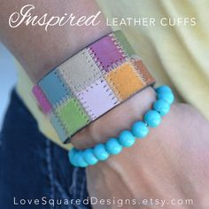 colorful patchwork leather cuff bracelet by LoveSquaredDesigns, $20.00 wear your joy!
