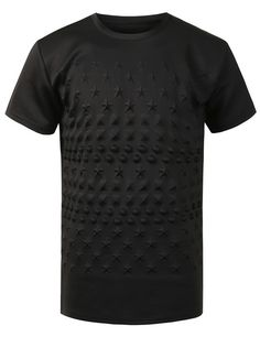 Embossed Dots Stars Studs Crewneck T-Shirt #doublju   #style #menswear