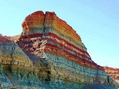 """Rainbow Sediment stratum, Oued Metlili Ghardaia, Algeria It's Outcrop of sedimentary rocks of the Albian """"Early Cretaceous"""". Metlili is a town and commune, and capital of Métlili District, in Ghardaïa Province, Algeria."""