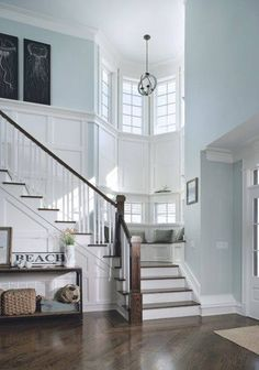 The woodwork on the stairway is amazing i love how soft the walls look because of its color. What do you think about it? #pinterest #homedecor #homegoods #tjmaxx #ross #HGTV