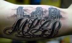 MPLS Skyline Tattoo by John Laramy, Northeast Tattoo and Piercing, Minneapolis, MN, Twin Cities Skyline Tattoo, Wells Fargo Center, Tattoo Removal, Custom Tattoo, Twin Cities, Tattoo Shop, Minneapolis, Piercing, Tattoo Ideas