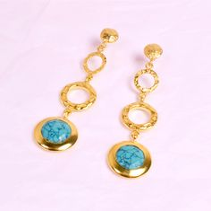 ATHENA 'Melissa' Gold Gemstone Earrings designed by Azuni London for the modern goddess... http://azuni.co.uk/jewellery/earrings-azuni-london/athena-long-drop-stone-earrings-gold