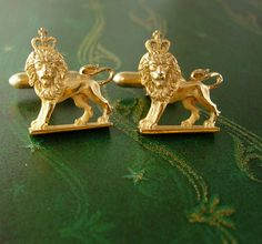 English ROYAL LION Cufflinks Vintage Crown by NeatstuffAntiques, $110.00